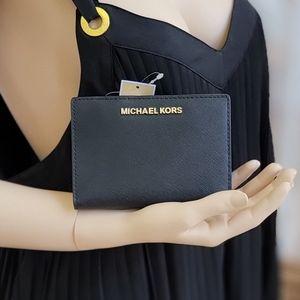 Michael Kors Jet Set MD Card Case Wallet Black